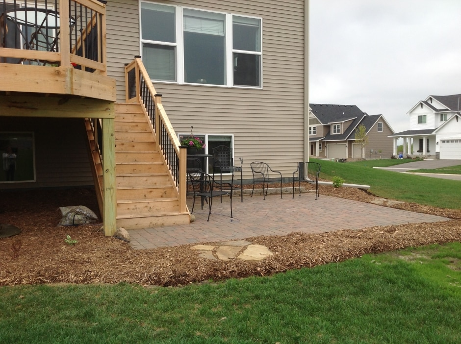 concrete patio and wooden deck